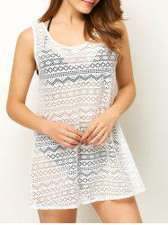 Geometric See Through Mesh Beach Cover-Up