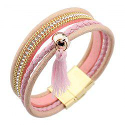Rhinestoned Faux Leather Tassel Bangle Bracelet