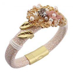 Vintage Flower Fake Pearl Leather Bracelet