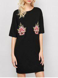Embroidered Casual Shift Summer T-Shirt Dress - BLACK M