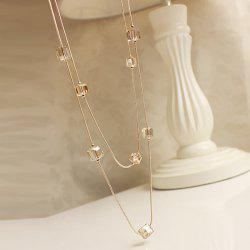 Fake Crystal Cubes Sweater Chain - GOLDEN