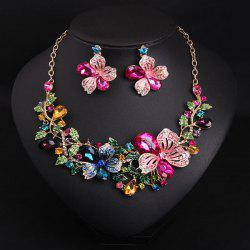 Fake Crystal Flower Bib Charm Necklace and Earrings