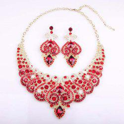 Fake Diamond Crystal Heart Hollowed Necklace and Earrings
