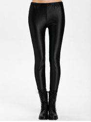 Mesh Panel PU Leather Leggings - BLACK