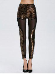 Mesh Panel Leopard Sheer Leggings - LEOPARD