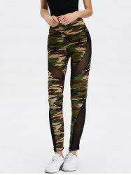 Mesh Insert Camo High Waist Leggings