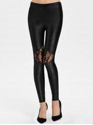 Lace Panel See Thru Ankle Length Leggings