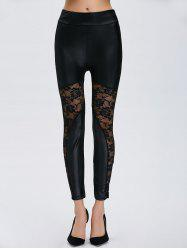 Lace Insert Sheer Ankle Length Leggings - BLACK