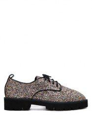 Glitter Sequined Lace Up Flat Shoes - GOLDEN