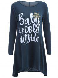 Long Sleeve Christmas Snowflake Tunic T-Shirt Dress