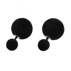 Two Fuzzy Ball Candy Color Stud Earrings