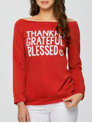 Off The Shoulder Letter Words Print Sweatshirt