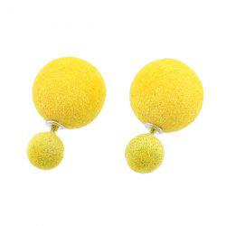 Two Fuzzy Ball Candy Color Stud Earrings -