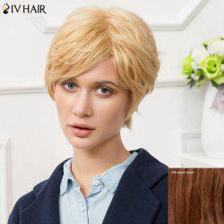 Siv Short Fluffy Inclined Bang Slightly Curled Human Hair Wig