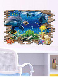3D Sea World Toilet Decoration Wall Stickers - COLORMIX