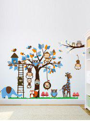 Removable Cartoon Animal Wall Mural Stickers For Kid's Rooms