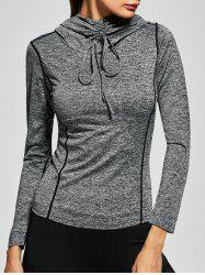 Drawstring Long Sleeve Hooded Running Gym T-Shirt - GRAY