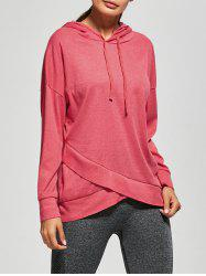 Drop Shoulder Drawstring Crossover Hem Sport Hoodie