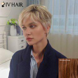 Siv Short Layered Side Bang Straight Human Hair Wig -