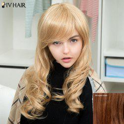 Siv Long Side Bang Layered Fluffy Wavy Human Hair Wig