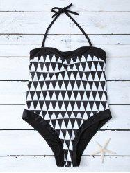 Halter Geometric High Waisted One-Piece Swimwear