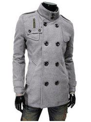 Stand Collar Double Breasted Zip Embellished Coat - LIGHT GRAY