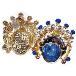 Faux Gem Chinese Mask Stud Earrings