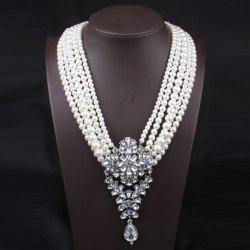 Fake Pearl Flower Crystal Beaded Layered Necklace