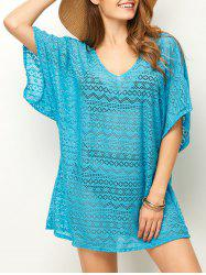 Backless Mesh Beach Tunic Cover Up - LAKE BLUE
