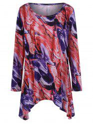 Plus Size Tie-Dye Long Sleeve Asymmetrical Longline T-Shirt