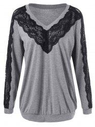 Plus Size Lace Trim V Neck Sweatshirt