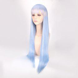 Long Neat Bang Straight Synthetic From Zero Cosplay Anime Wig - GRADUAL BLUE