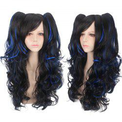 Long Side Bang Fluffy Wavy with Bunches Synthetic Cosplay Lolita Wig - BLUE AND BLACK