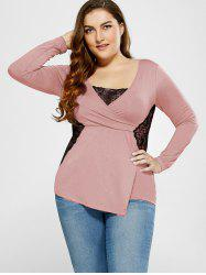 V Neck Plus Size Tee With Lace Insert