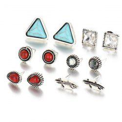 Faux Turquoise Leaf Geometric Earring Set -