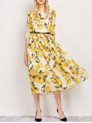 Puff Sleeves Lemon Print Swing Dress