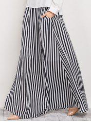 High Waisted Striped Maxi Skirt - STRIPE
