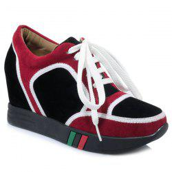 Hidden Wedge Colour Block Athletic Shoes - BURGUNDY