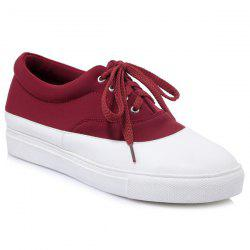 Tie Up Color Block Athletic Shoes - BURGUNDY