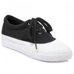 Tie Up Color Block Athletic Shoes