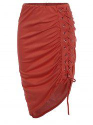 Lace Up Ruched High Low Skirt