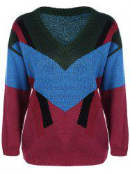 Color Block V Neck Pullover Sweater