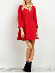 Beaded Bell Sleeve Fit and Flare Dress
