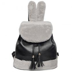 Rabbit Ear Faux Fur Panel Backpack