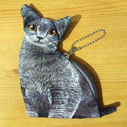3D Cat Print Change Purse - GRAY