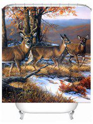 Deer Print Waterproof Mildewproof Shower Curtain - COLORMIX