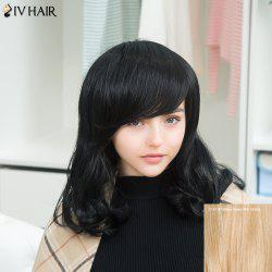 Siv Medium Oblique Bang Shaggy Wavy Human Hair Wig