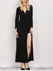 Surplice Long Sleeve Slit Maxi Dress