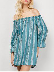 Off The Shoulder Printed Casual Dress