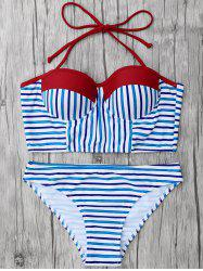 Color Block Striped Underwire Bikini Set